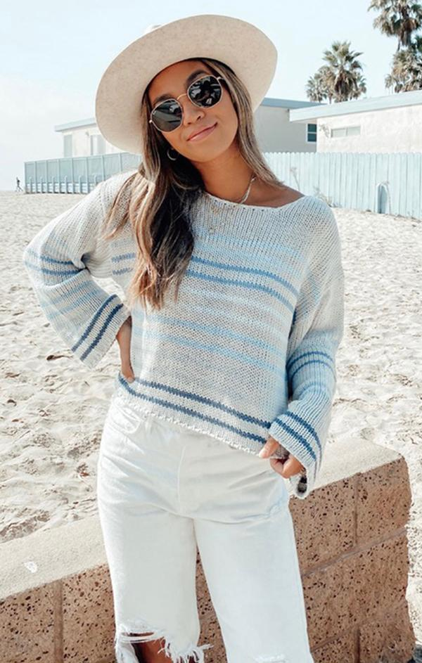 blue striped long sleeve spring knit