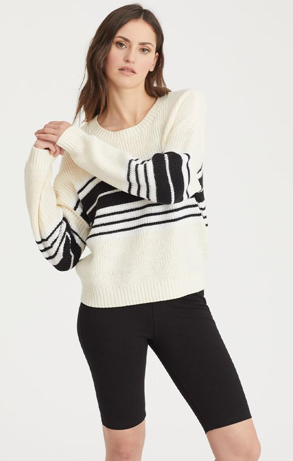 black striped crew neck knit sweater