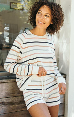 long sleeve multi stripe pullover top