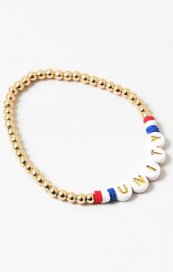 chic dainty gold bead unity red white and  blue bracelet