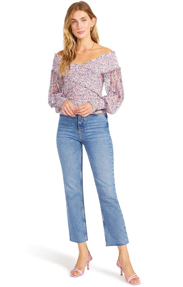 womens floral print off the shoulder summer blouse