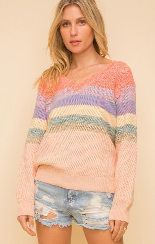 hem and thread spring stripe sweater coral multi
