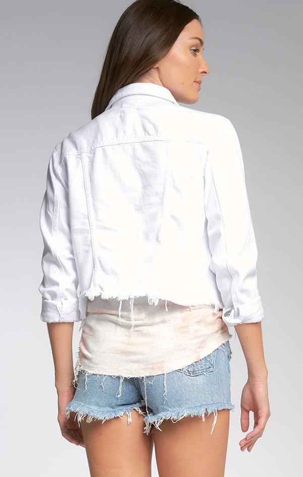 frayed crop white summer jackets