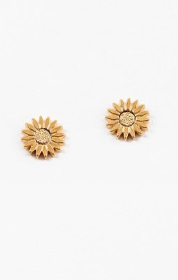 small push back sunflower studs