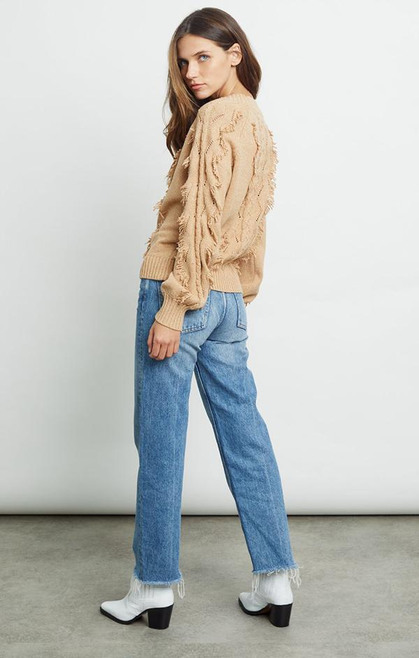 fringe crew neck sweater