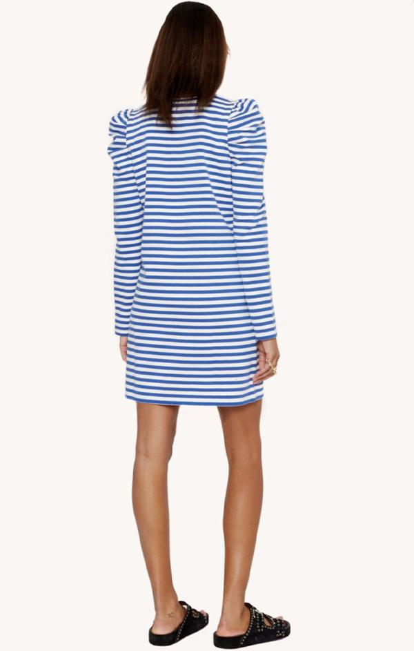 women's spring blue and white stripe long sleeve puff sleeve mini dress