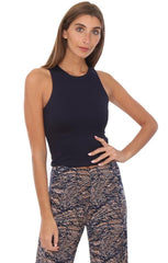 Veronica M Tops Fitted Cropped Navy Layering Tank Top