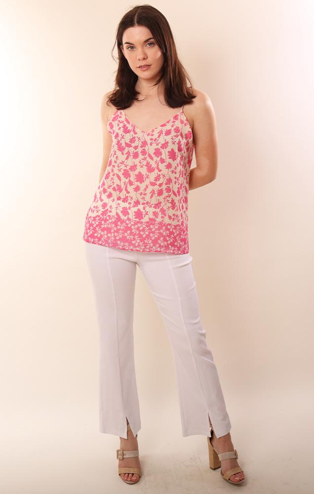 Veronica M Tops Flowy Floral Printed Pink Cami Blouse