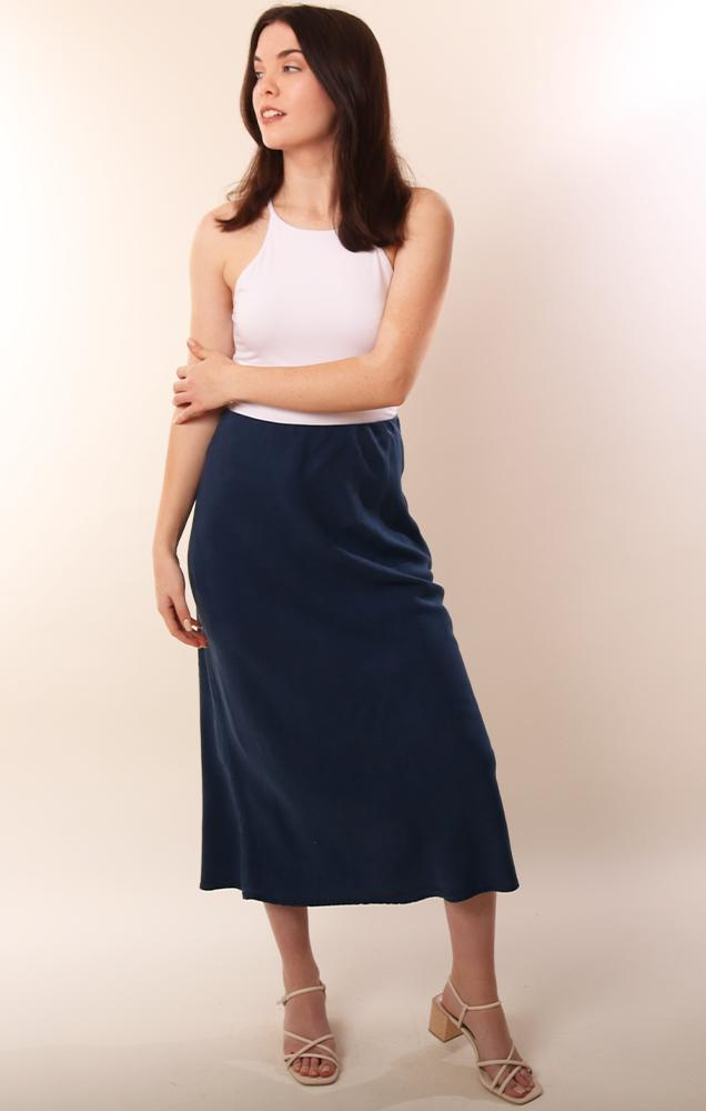 Bella Dahl Tencel Navy Flowy Midi Soft Spring Skirt