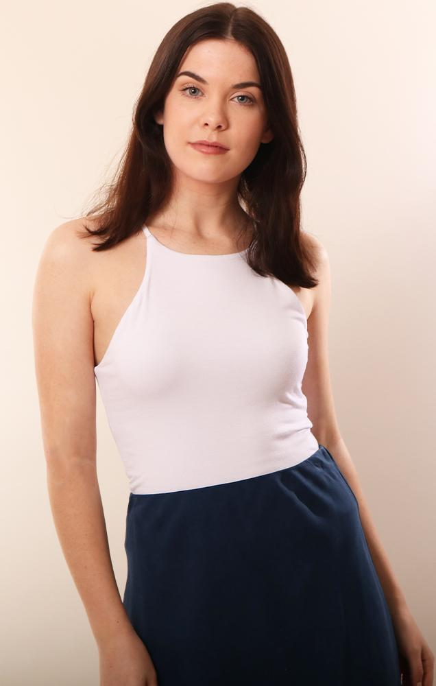 Veronica M Tops Hi Neck White Fitted White Tank