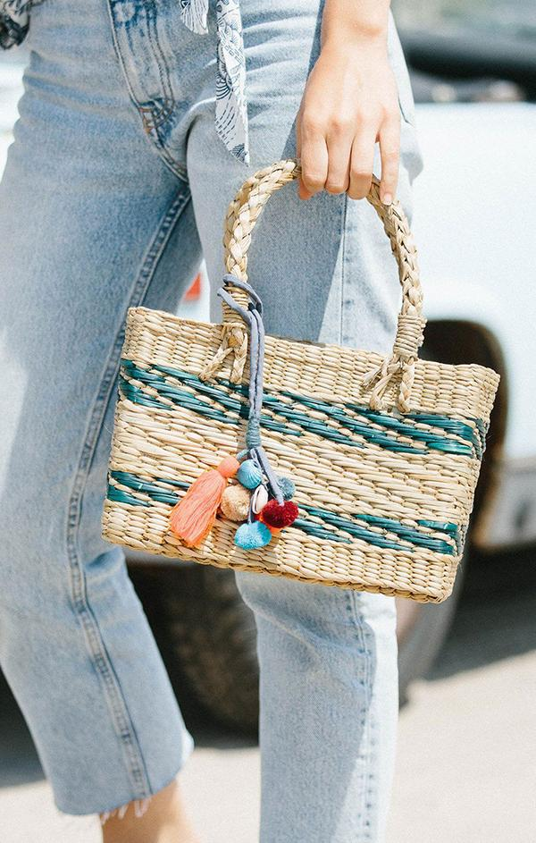 woven teal and natural tote bag