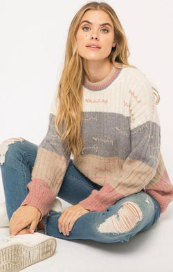 color block pulled thread sweater
