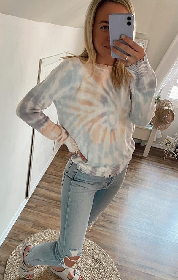 light summer spring womens tie dye sweater top