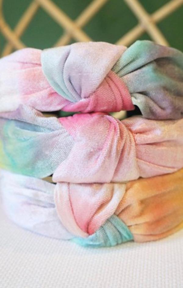velvet tie dye top knot headbands