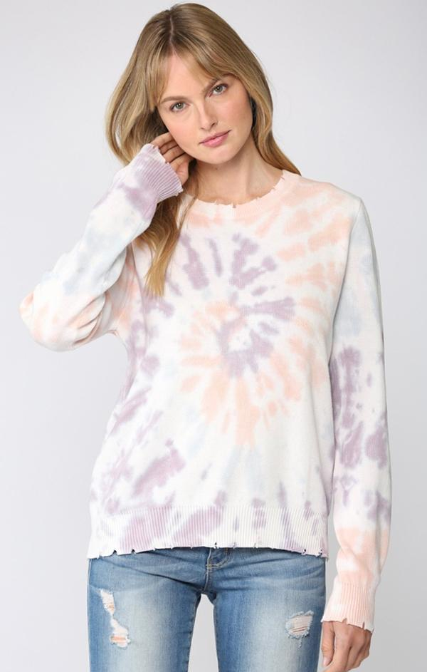 purple multi tie dye distressed crewneck knit