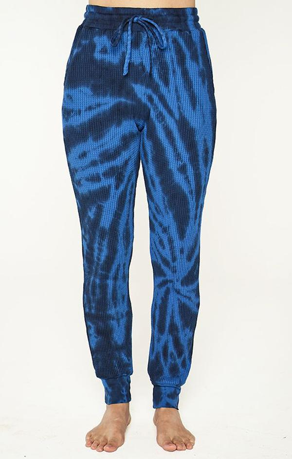 ribbed tie dye blue comfy lounge joggers