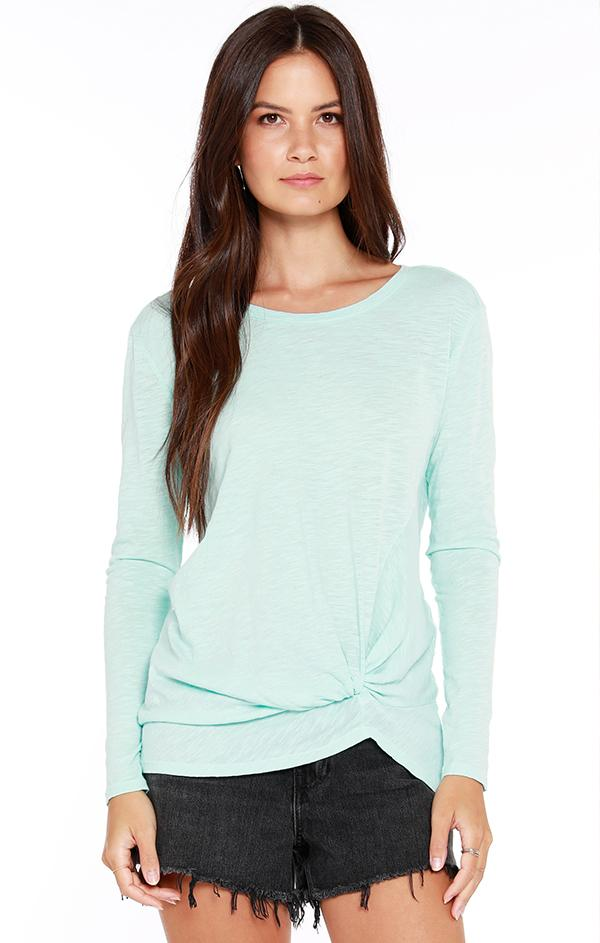 tie front long sleeve top