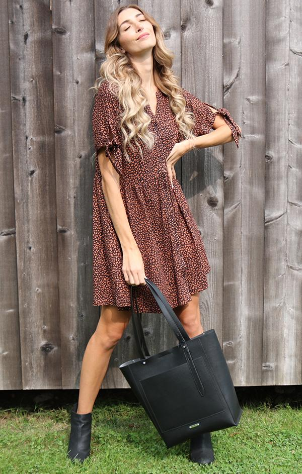 button up front mini dress