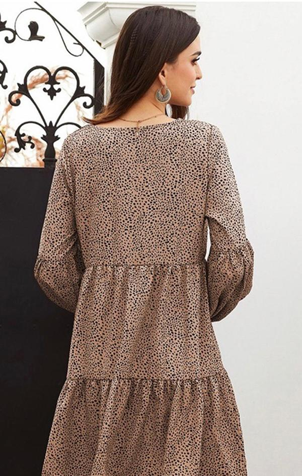 spotted brown tiered mini dress