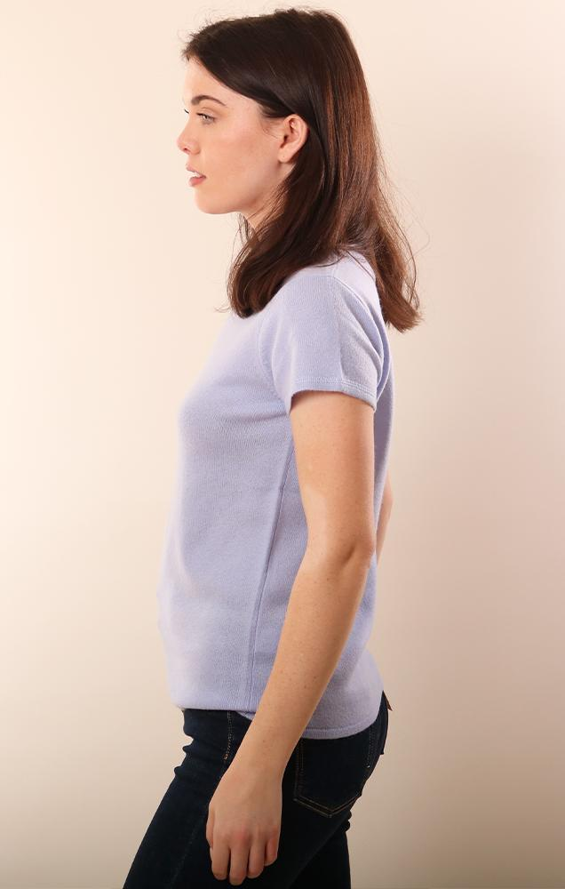 Cashmere Sweaters Short Sleeve Soft crew neck blue top
