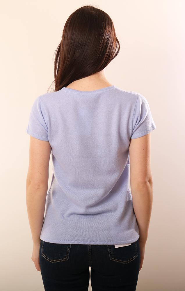Cashmere Sweaters Short Sleeve Soft knit blue spring top