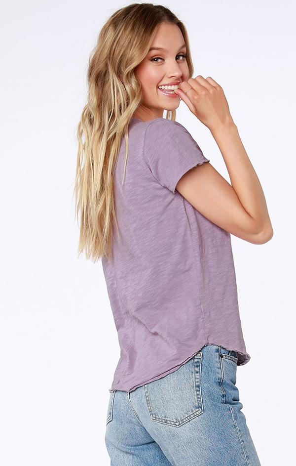 purple v neck lightweight top