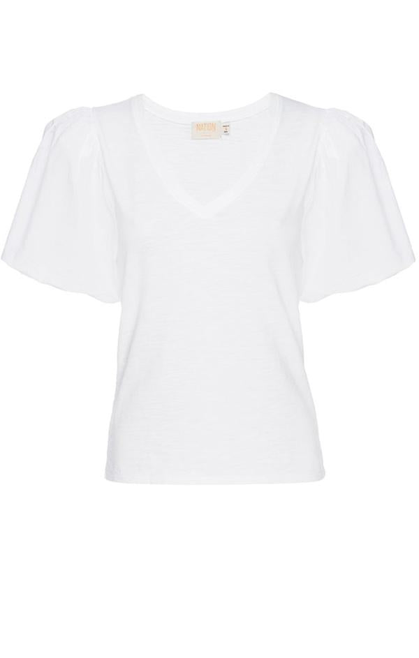 nation ltd traci bubble sleeve vneck Traci white summer blouse