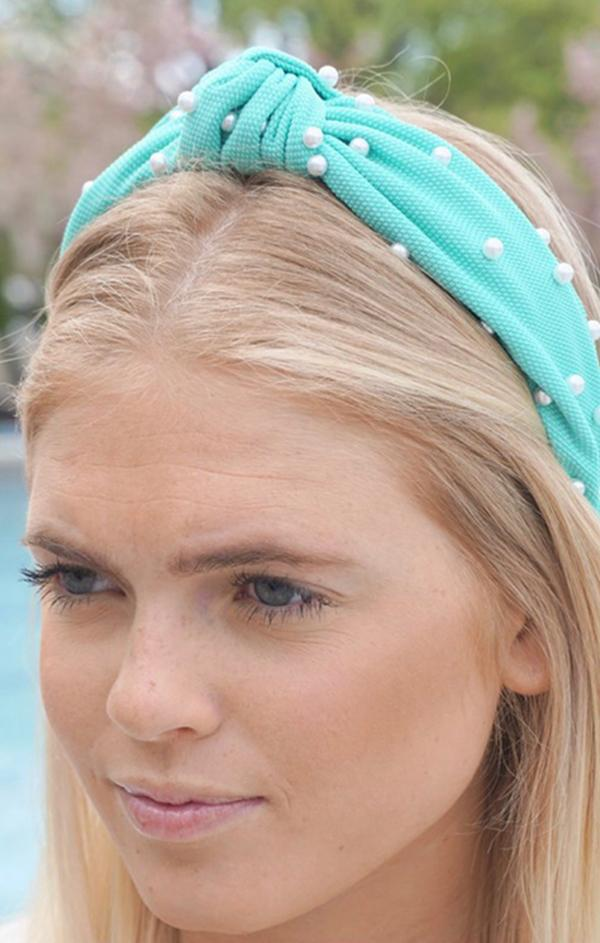 turquoise pearl top knot headband