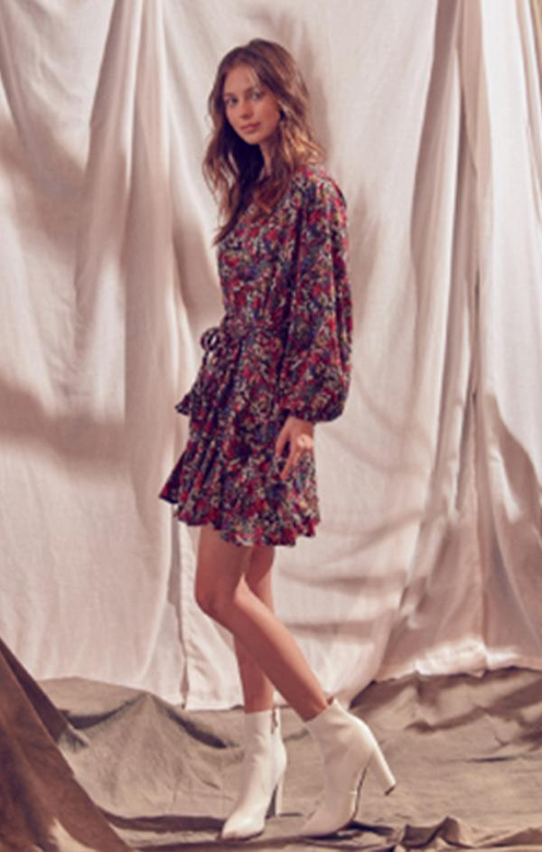 floral mini dress for fall