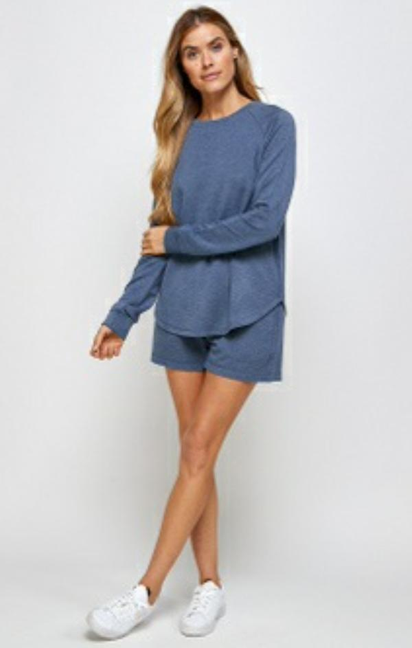 relaxed fitting washed indigo sweatshirt top