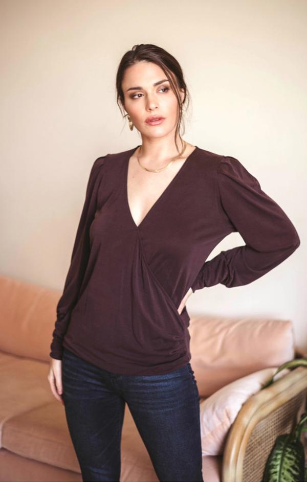 v neck crossover long sleeve top