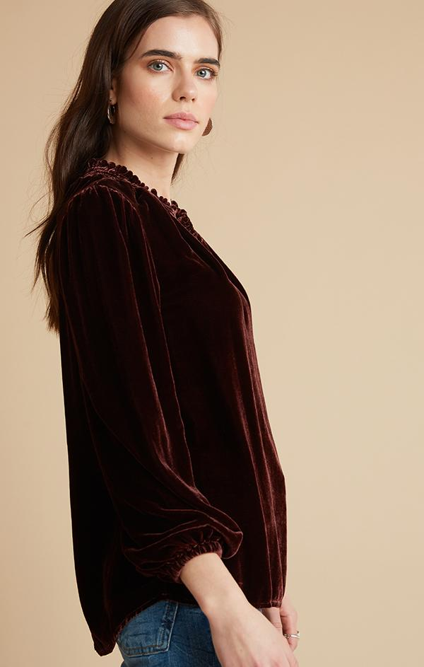 velvet smocked neck top
