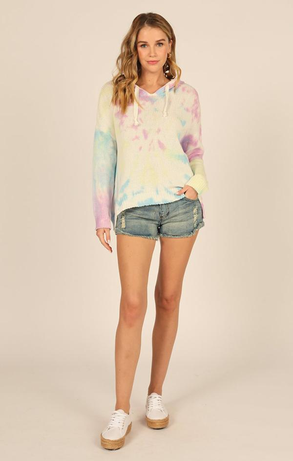 summer rainbow tie dye sweater v neck