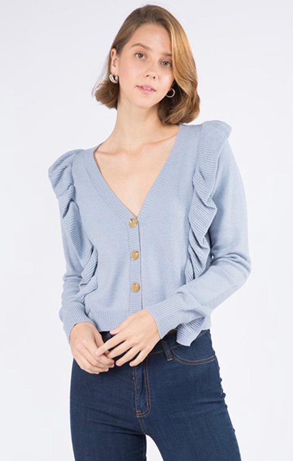 button front v neck long sleeve cardi