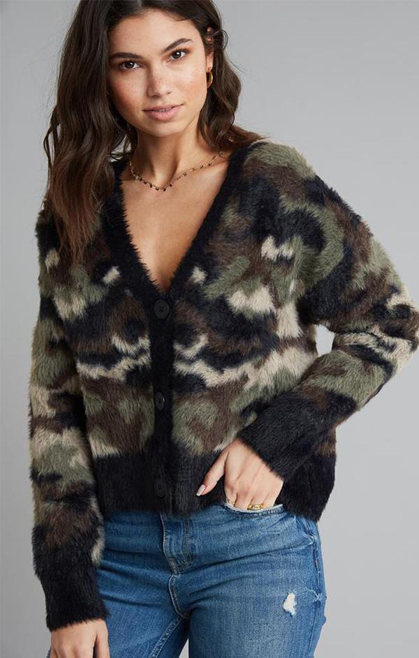 fuzzy camo print button up cardi