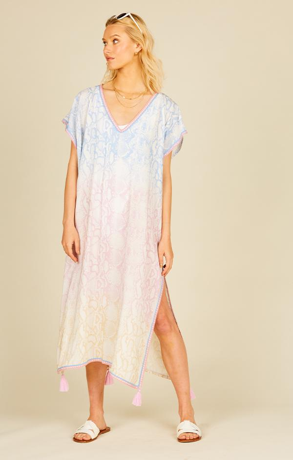 ombre snake print maxi coverup dress