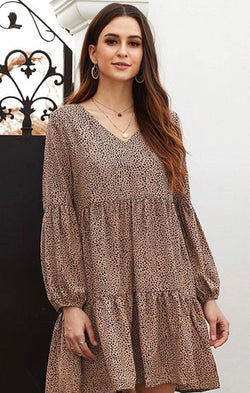 spotted tiered mini dress