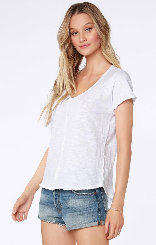 short sleeve raw edge white top
