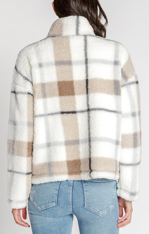 collared cozy pullover in plaid print