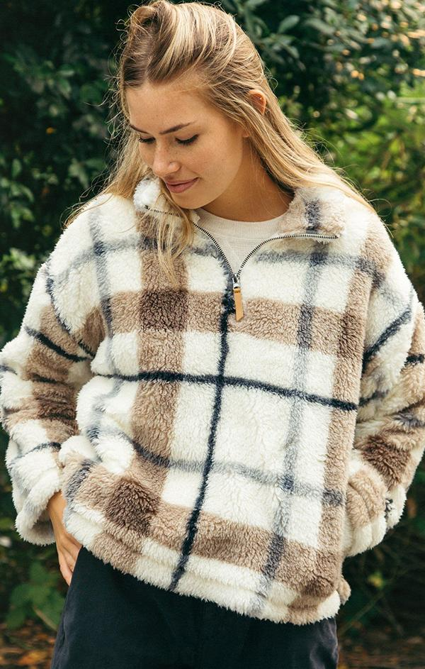 plaid print cozy pullover