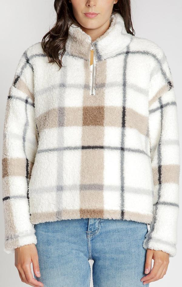 plaid printed long sleeve pullover for fall