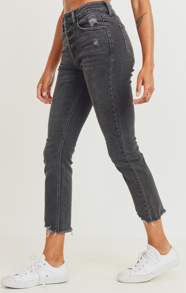 washed black denim crop jeans