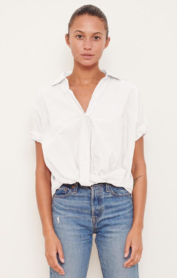 womens trendy summer blouse stateside poplin short sleeve white shirt