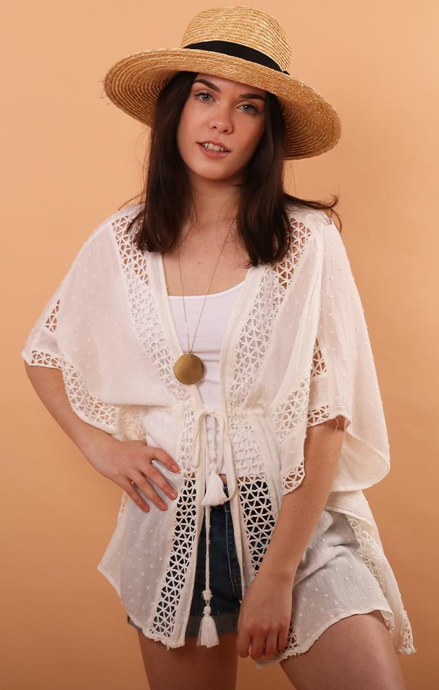 White Crochet Trim Cover Up With Tie Front For Beach