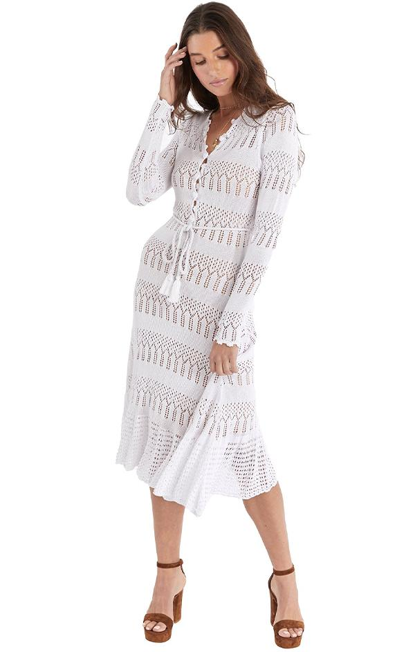 long sleeve chic white midi dress