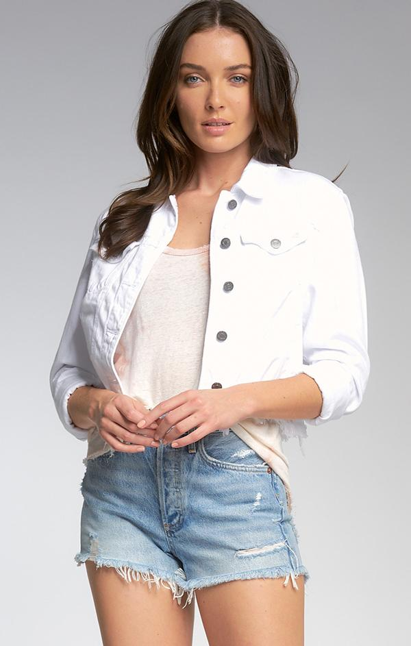 crop white distressed denim jean jacket for spring
