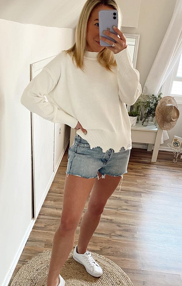 ivory white knit top