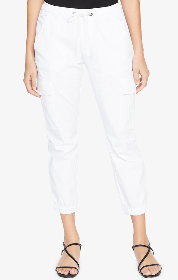white crop drawstring jogger pants