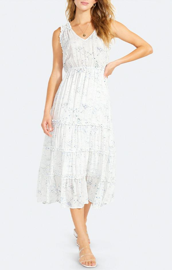 printed pearl white midi dress by bb dakota