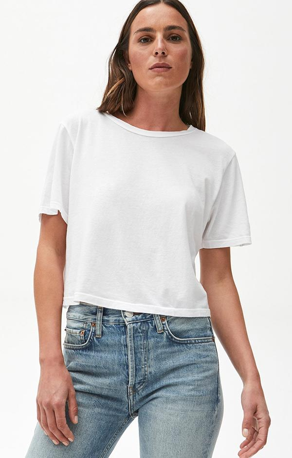 Michael Stars white kam cropped tee